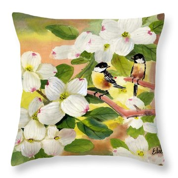 Chickadees In The Dogwood Tree Throw Pillow by Eileen  Fong