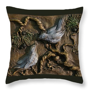 Throw Pillow featuring the relief Chickadees On Juniper With Berries  by Dawn Senior-Trask