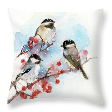 Chickadees With Berries Throw Pillow