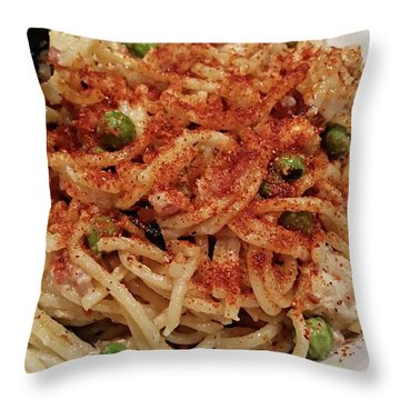Throw Pillow featuring the digital art Chicken Ala Carbonara by Joseph Hendrix