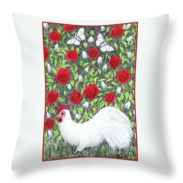 Chicken And Butterflies In The Flowers Throw Pillow
