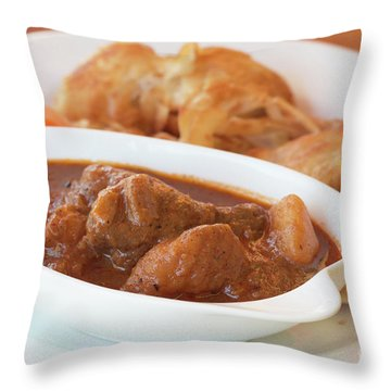 Throw Pillow featuring the photograph Chicken Massaman Curry by Atiketta Sangasaeng