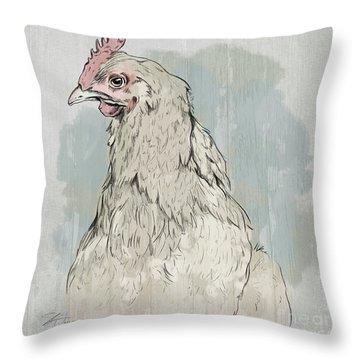 Chicken Portrait-farm Animals Throw Pillow