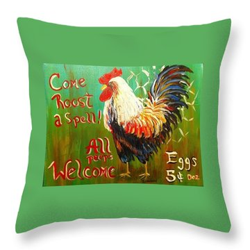 Chicken Welcome 3 Throw Pillow