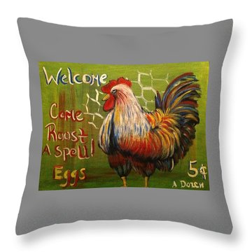 Chicken Welcome Sign 4 Throw Pillow