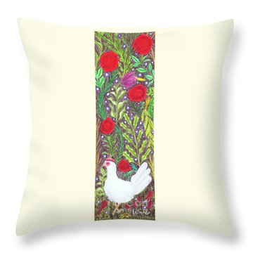 Chicken With An Attitude In Vegetation Throw Pillow