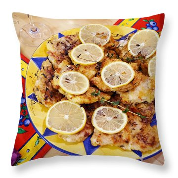 Throw Pillow featuring the digital art Chicken With Lemon by Jana Russon