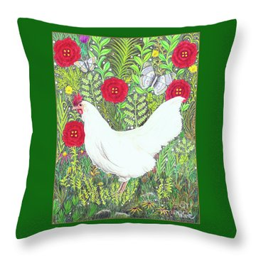Chicken With Millefleurs And Butterflies  Throw Pillow