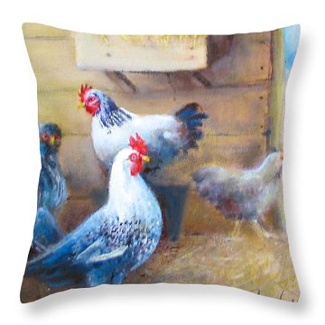 Chickens All Cooped Up Throw Pillow