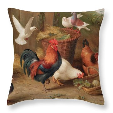 Chickens And Doves By A Wicker Basket And Trug Throw Pillow