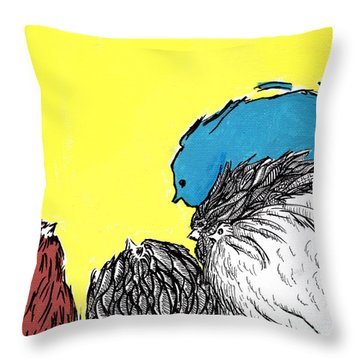 Chickens One Throw Pillow by Jason Tricktop Matthews
