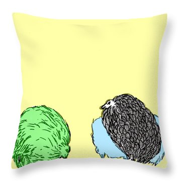 Chickens Three Throw Pillow by Jason Tricktop Matthews