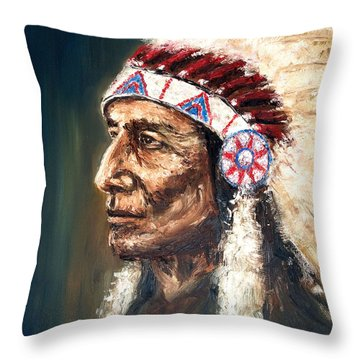 Chief Throw Pillow by Arturas Slapsys