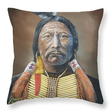 Chief Buckskin Charley Throw Pillow by Jerry McElroy