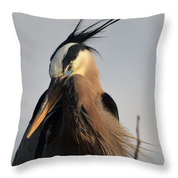 Throw Pillow featuring the pyrography Chief Great Blue by Sally Sperry