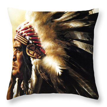 Throw Pillow featuring the painting Chief by Greg Olsen