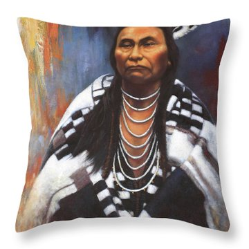 Throw Pillow featuring the painting Chief Joseph by Harvie Brown
