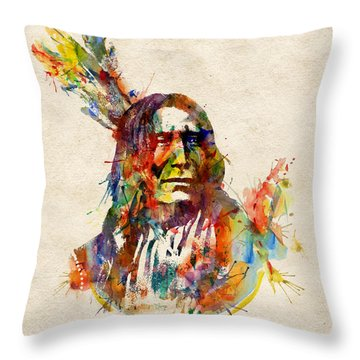 Chief Mojo Watercolor Throw Pillow by Marian Voicu