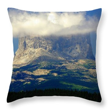 Chief Mountain, With Its Head In The Clouds Throw Pillow