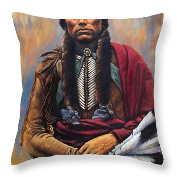 Throw Pillow featuring the painting Chief Quanah by Harvie Brown