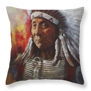 Throw Pillow featuring the painting Chief Red Cloud by Harvie Brown