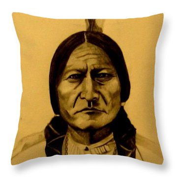 Throw Pillow featuring the drawing Chief Sitting Bull  Tatanka Iyotake by Michelle Dallocchio