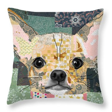 Chihuahua Collage Throw Pillow by Claudia Schoen