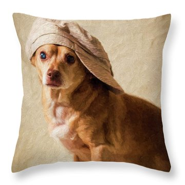 Chihuahua In A Newsboy Hat Throw Pillow