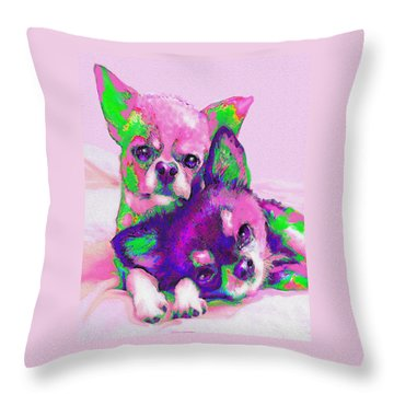 Throw Pillow featuring the digital art Chihuahua Love by Jane Schnetlage
