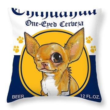 Chihuahua One-eyed Cerveza Throw Pillow