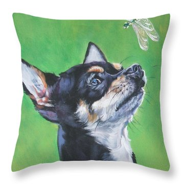 Chihuahua With Dragonfly Throw Pillow by Lee Ann Shepard