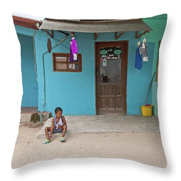 Child And House Throw Pillow