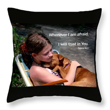 Child And Puppy Psalms Throw Pillow