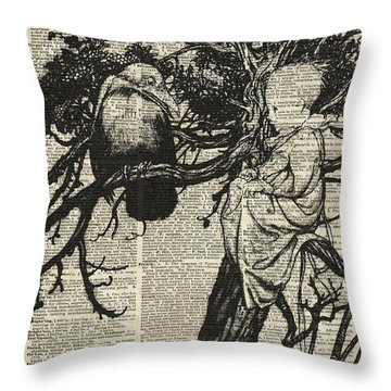 Child And Raven Throw Pillow