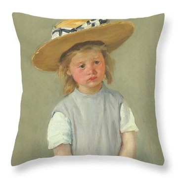 Throw Pillow featuring the painting Child In A Straw Hat By Mary Cassatt 1886 by Movie Poster Prints