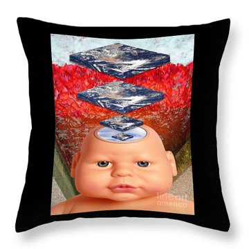 Child In Flat Worlds Throw Pillow by Keith Dillon