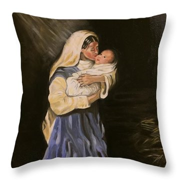 Child In Manger Throw Pillow