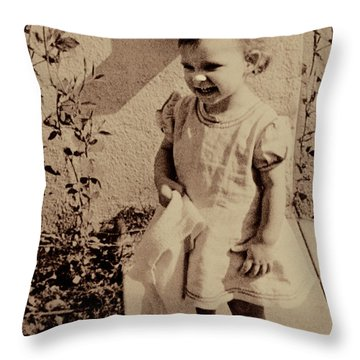 Throw Pillow featuring the photograph Child Of  The 1940s by Linda Phelps
