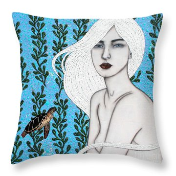 Throw Pillow featuring the mixed media Child Of The Ocean by Natalie Briney