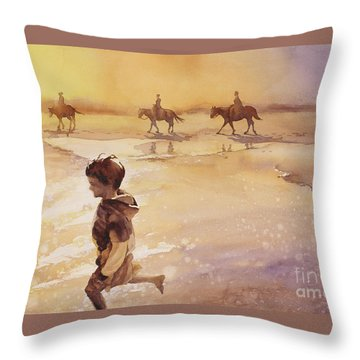 Throw Pillow featuring the painting Child On Beach- Ocracoke Island, Nc by Ryan Fox