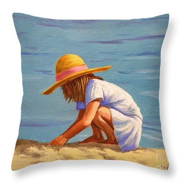 Child Playing In The Sand Throw Pillow