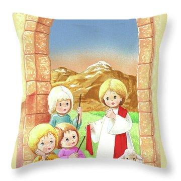 Child Shepherds Throw Pillow