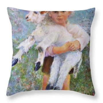 Child With A Lamb Throw Pillow