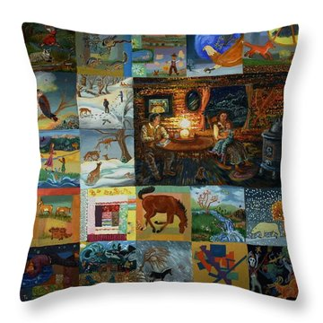Throw Pillow featuring the painting Childhood Quilt by Dawn Senior-Trask