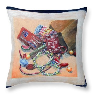 Throw Pillow featuring the painting Childhood Treasure by Saundra Johnson