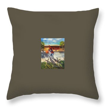Throw Pillow featuring the painting Tres Cruces De La Juventud Y La Vejez by Randol Burns