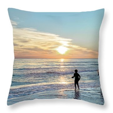 Children At Play On A Florida Beach  Throw Pillow