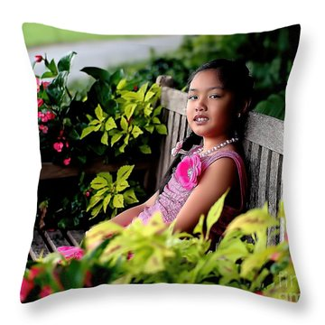 Throw Pillow featuring the photograph Children by Diana Mary Sharpton
