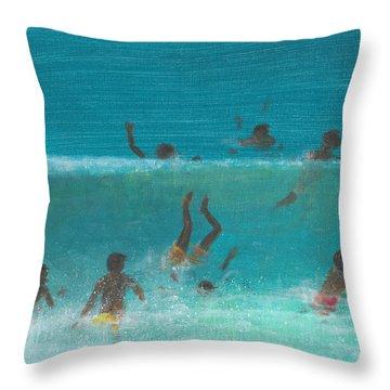 Children In The Surf Throw Pillow