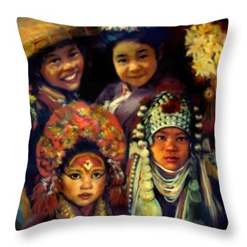 Children Of Asia Throw Pillow by Jean Hildebrant